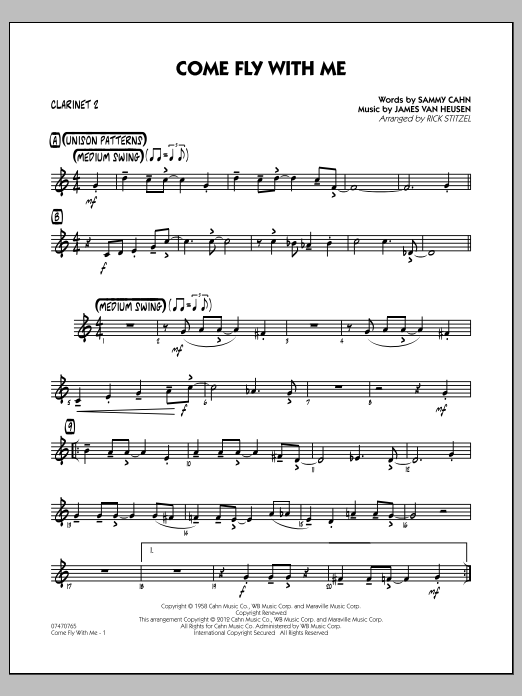 Rick Stitzel Come Fly With Me - Bb Clarinet 2 sheet music notes and chords. Download Printable PDF.