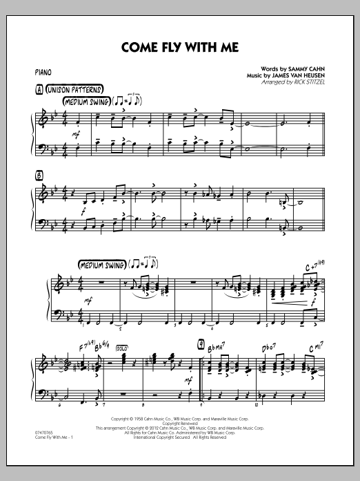 Rick Stitzel Come Fly With Me - Piano sheet music notes and chords. Download Printable PDF.