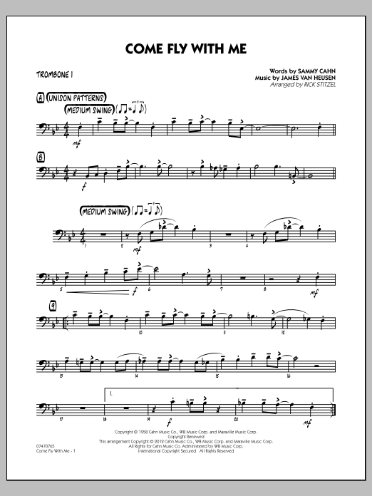 Rick Stitzel Come Fly With Me - Trombone 1 sheet music notes and chords. Download Printable PDF.