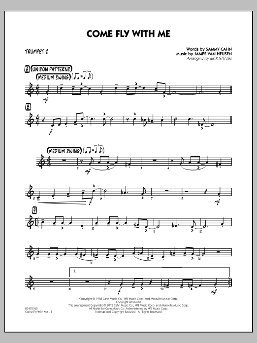 Rick Stitzel Come Fly With Me - Trumpet 2 sheet music notes and chords. Download Printable PDF.
