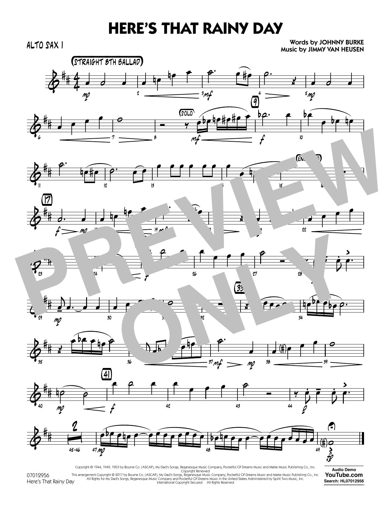 Rick Stitzel Here's That Rainy Day - Alto Sax 1 sheet music notes and chords. Download Printable PDF.