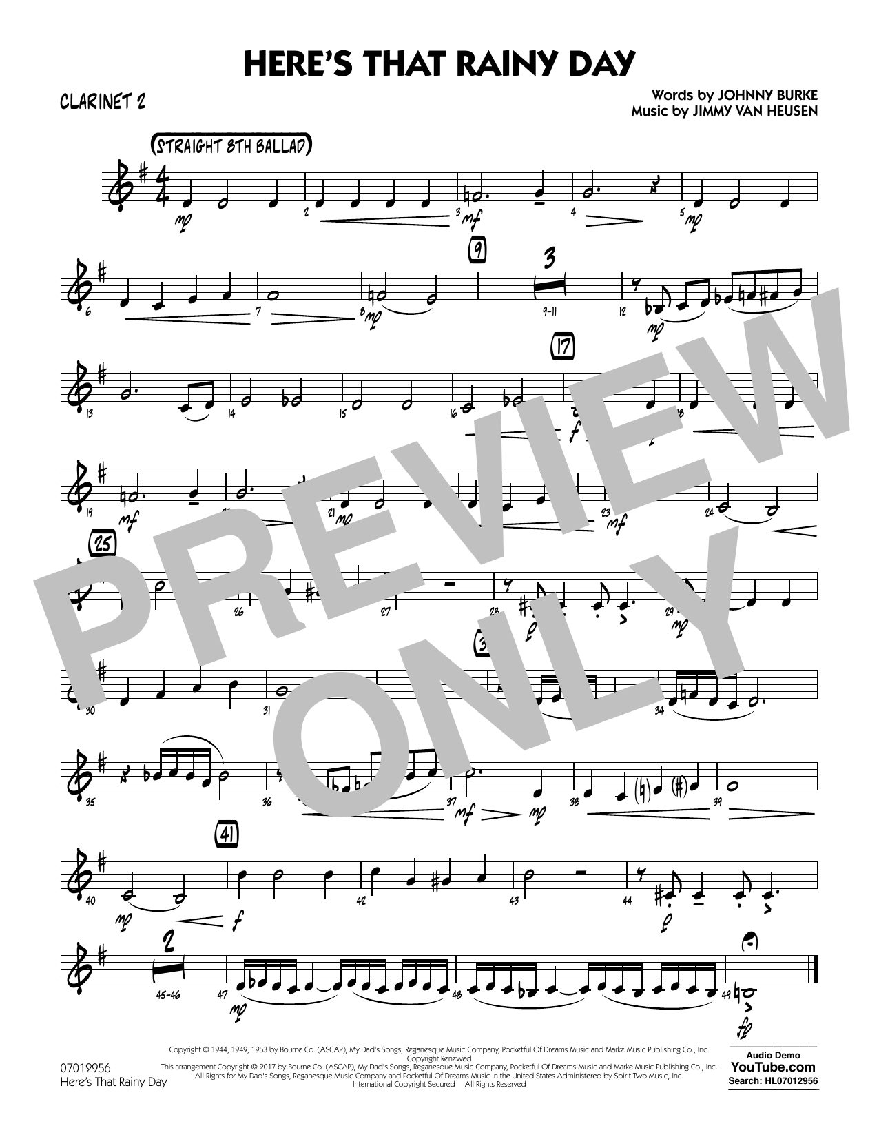 Rick Stitzel Here's That Rainy Day - Clarinet 2 sheet music notes and chords. Download Printable PDF.