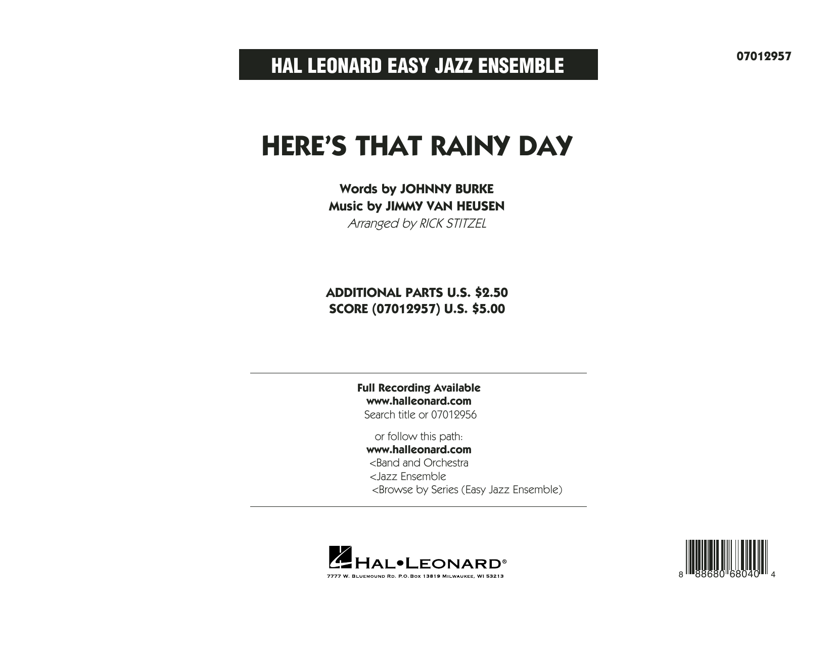 Rick Stitzel Here's That Rainy Day - Conductor Score (Full Score) sheet music notes and chords. Download Printable PDF.