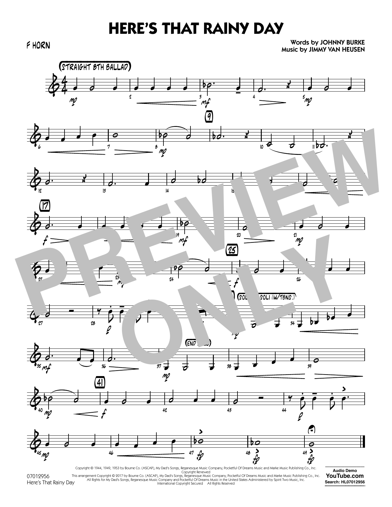 Rick Stitzel Here's That Rainy Day - F Horn sheet music notes and chords. Download Printable PDF.