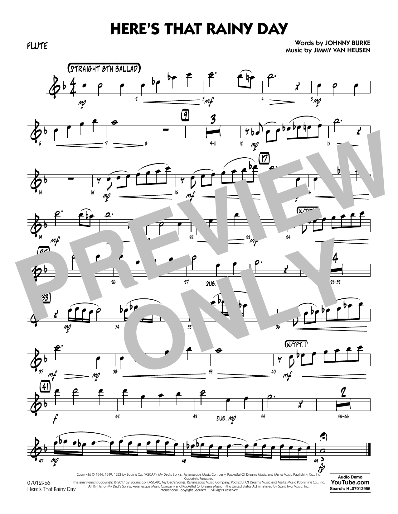 Rick Stitzel Here's That Rainy Day - Flute sheet music notes and chords. Download Printable PDF.