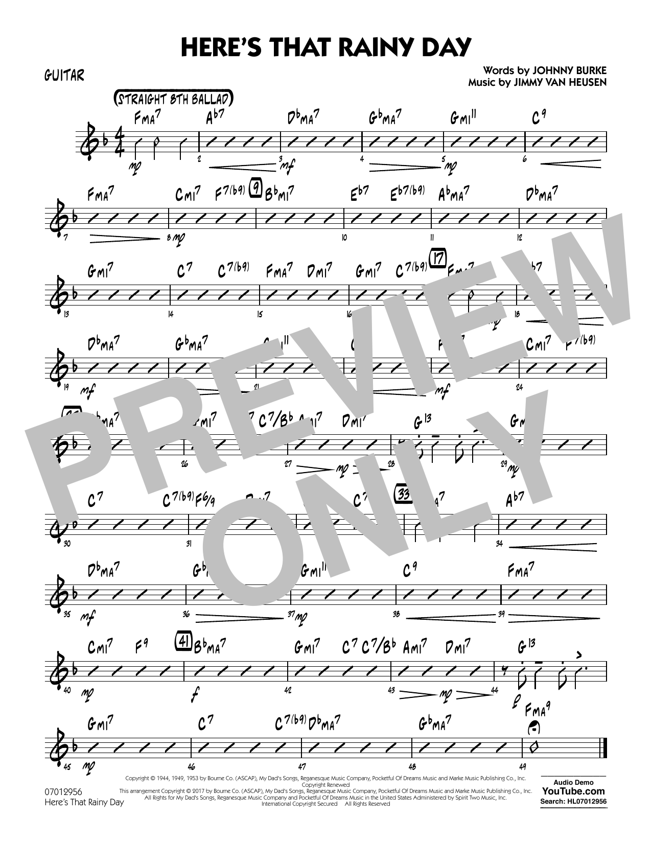 Rick Stitzel Here's That Rainy Day - Guitar sheet music notes and chords. Download Printable PDF.