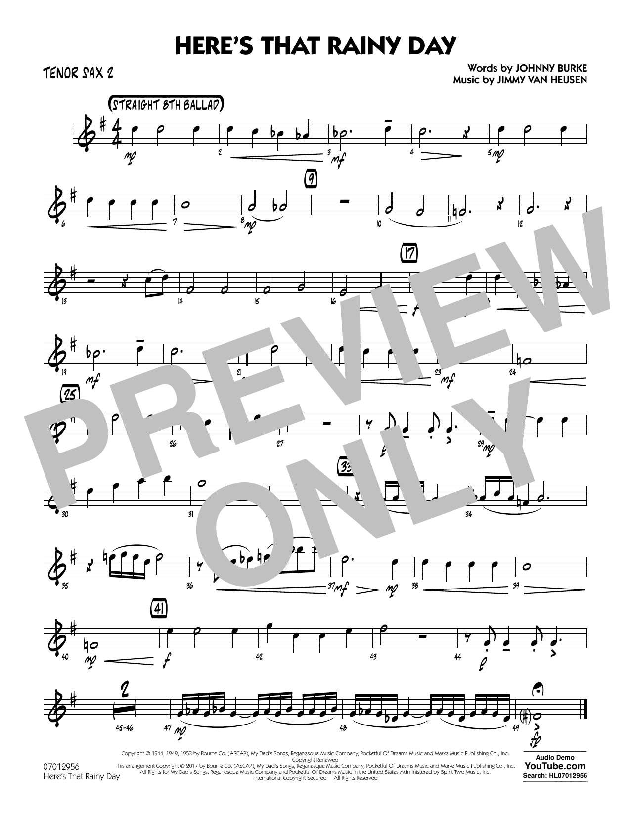 Rick Stitzel Here's That Rainy Day - Tenor Sax 2 sheet music notes and chords. Download Printable PDF.