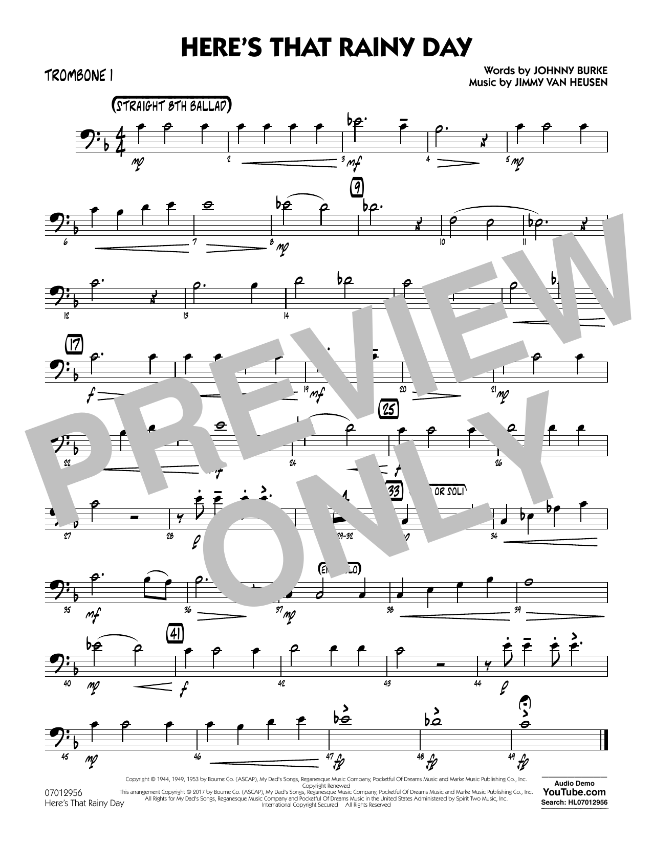 Rick Stitzel Here's That Rainy Day - Trombone 1 sheet music notes and chords. Download Printable PDF.