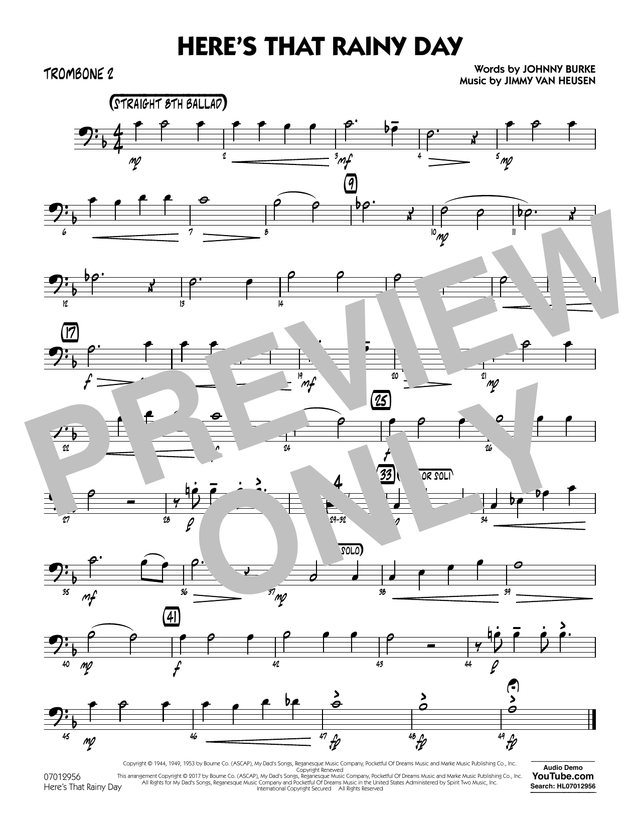 Rick Stitzel Here's That Rainy Day - Trombone 2 sheet music notes and chords. Download Printable PDF.