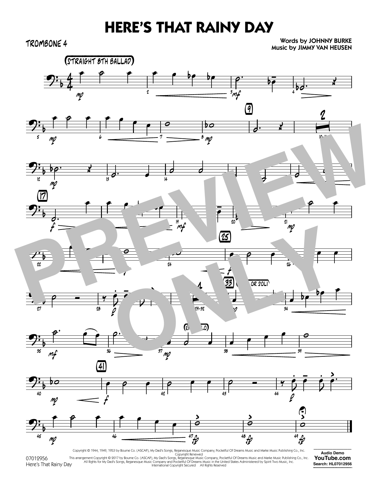 Rick Stitzel Here's That Rainy Day - Trombone 4 sheet music notes and chords. Download Printable PDF.