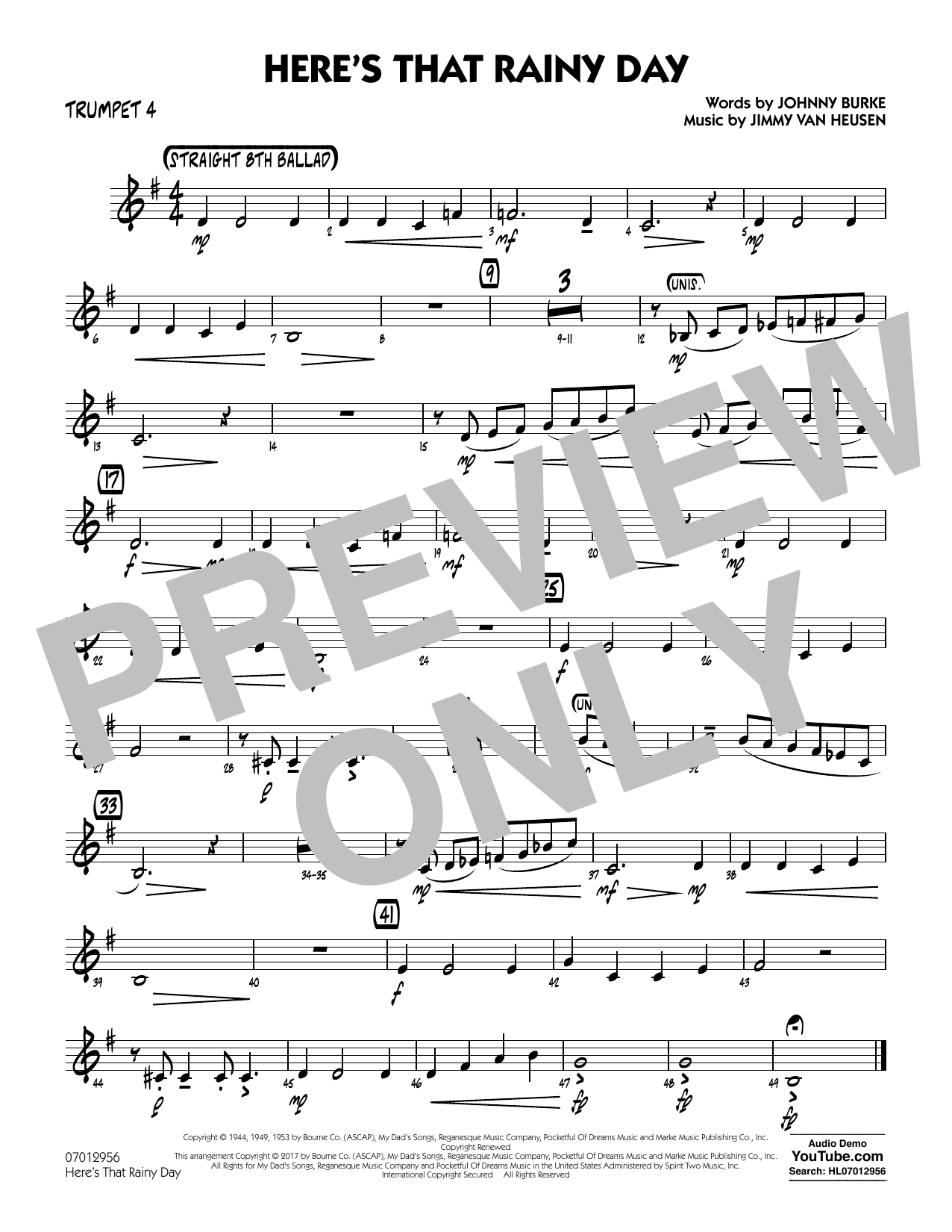 Rick Stitzel Here's That Rainy Day - Trumpet 4 sheet music notes and chords. Download Printable PDF.