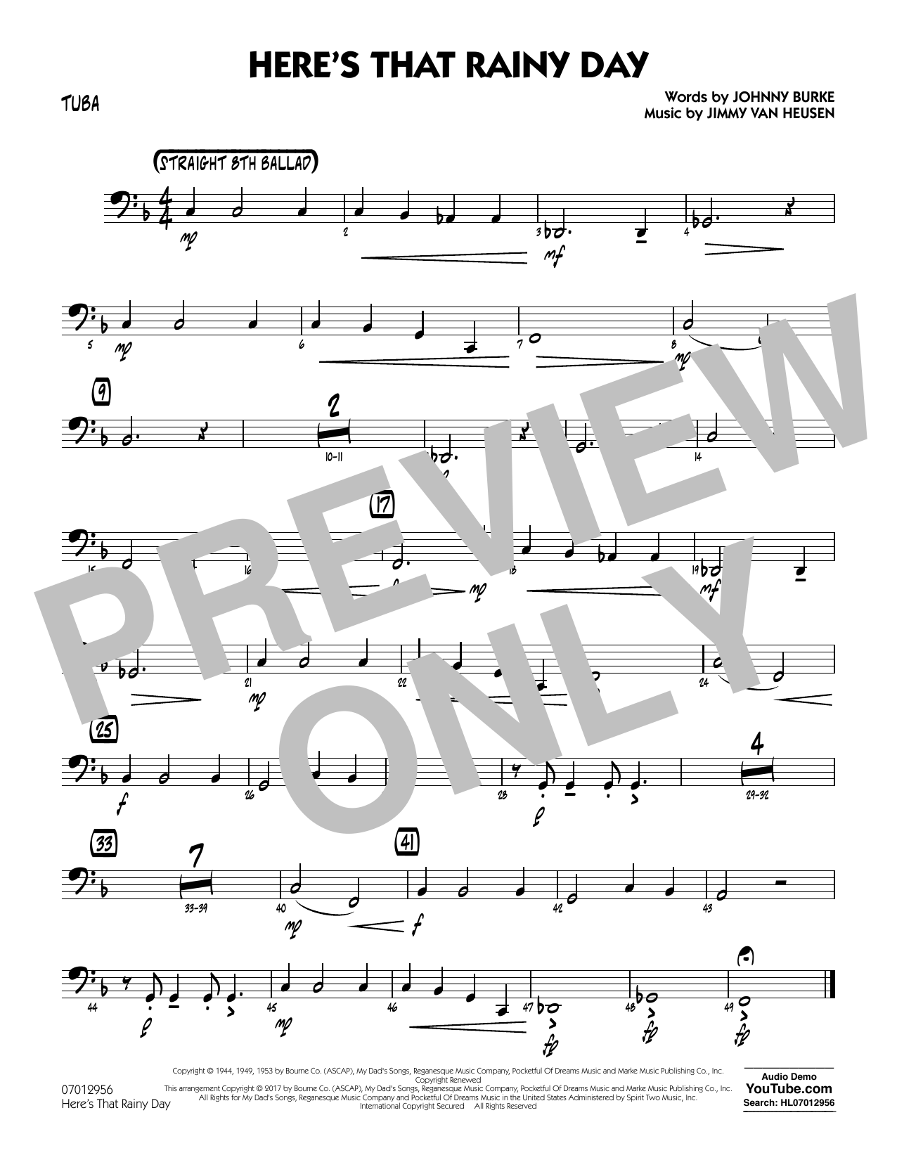 Rick Stitzel Here's That Rainy Day - Tuba sheet music notes and chords. Download Printable PDF.