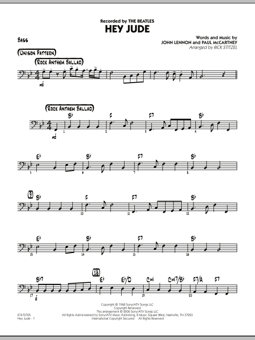 Rick Stitzel Hey Jude - Bass sheet music notes and chords. Download Printable PDF.