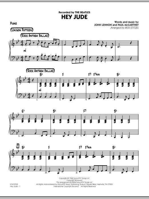 Rick Stitzel Hey Jude - Piano sheet music notes and chords. Download Printable PDF.