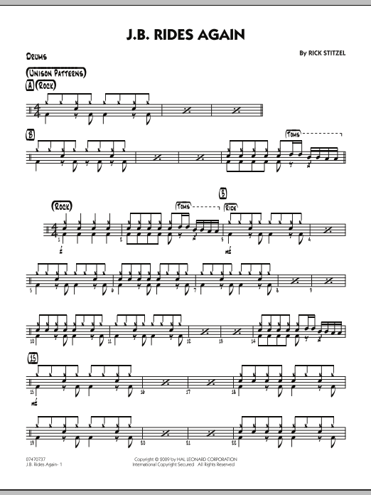 Rick Stitzel J.B. Rides Again - Drums sheet music notes and chords