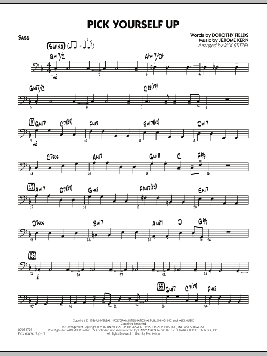 Rick Stitzel Pick Yourself Up - Bass sheet music notes and chords. Download Printable PDF.
