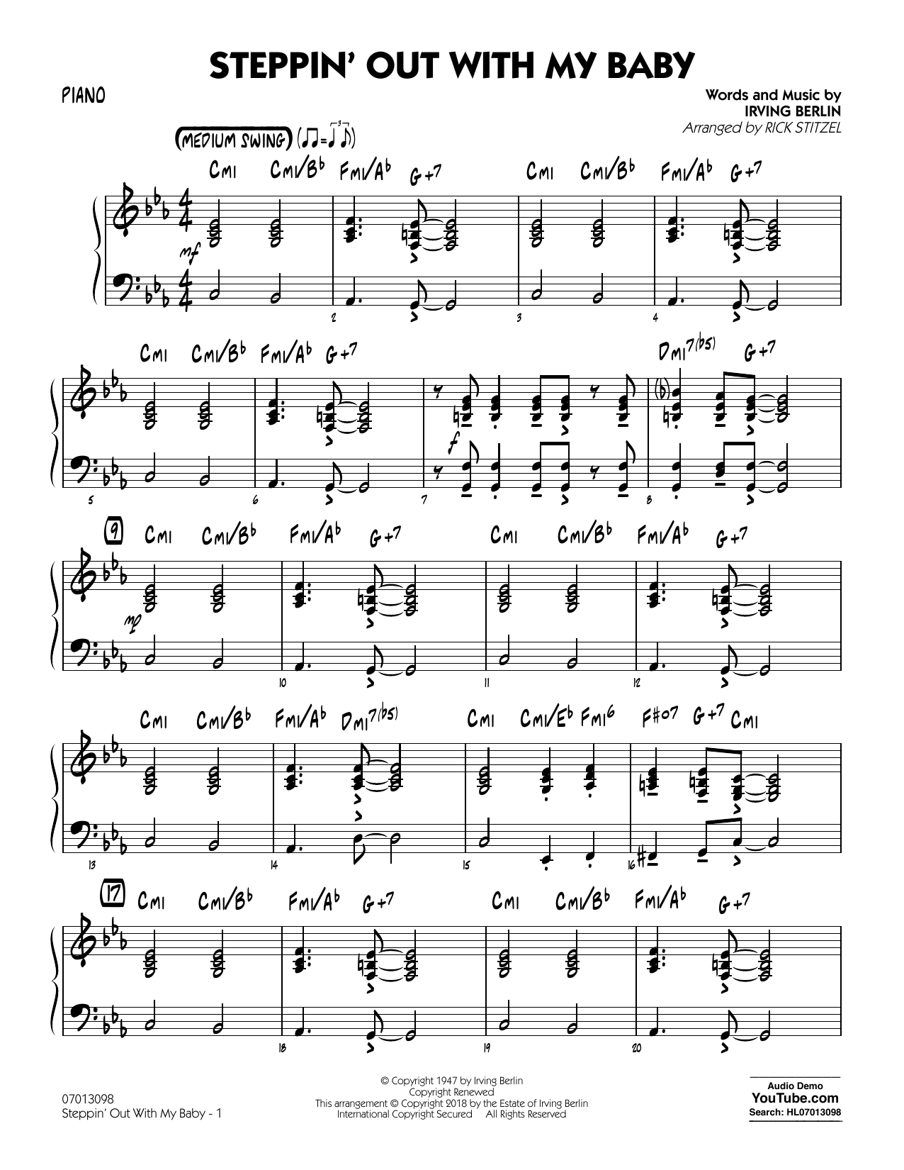 Rick Stitzel Steppin' Out with My Baby - Piano sheet music notes and chords. Download Printable PDF.