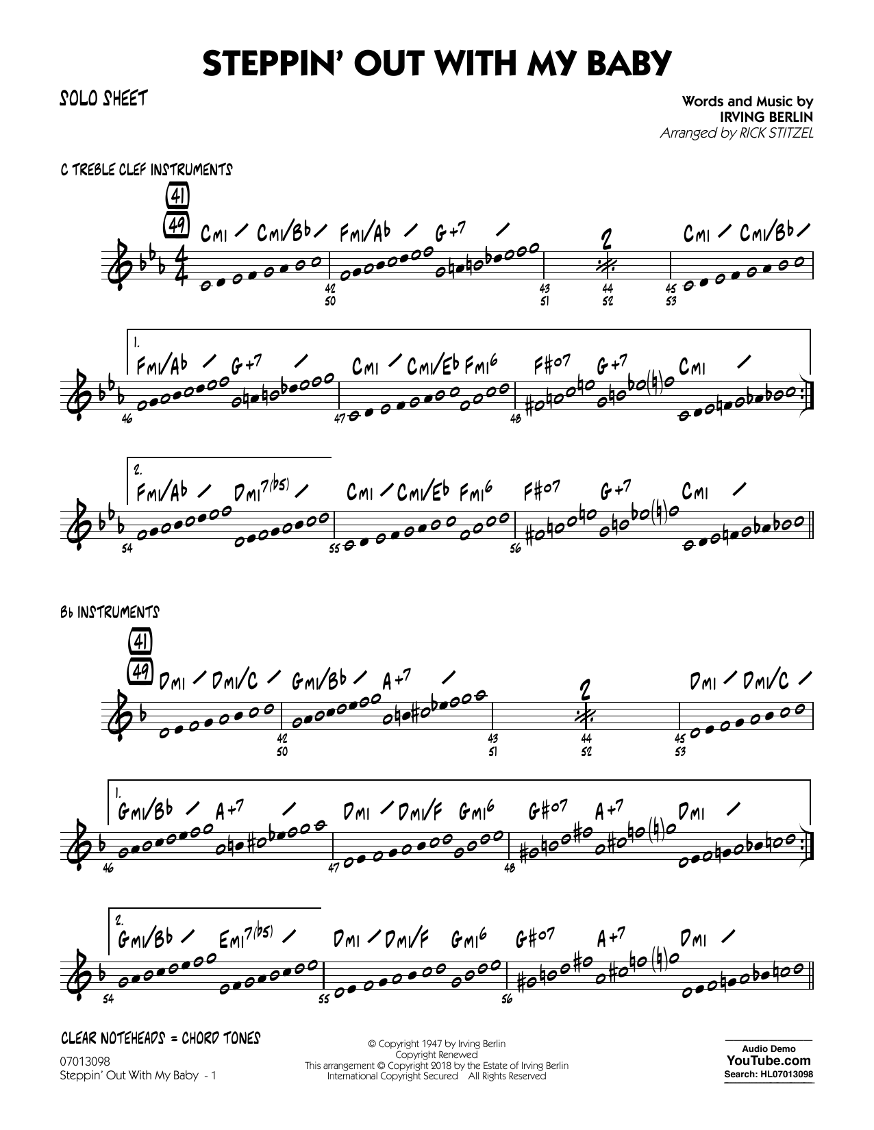 Rick Stitzel Steppin' Out with My Baby - Solo Sheet sheet music notes and chords. Download Printable PDF.