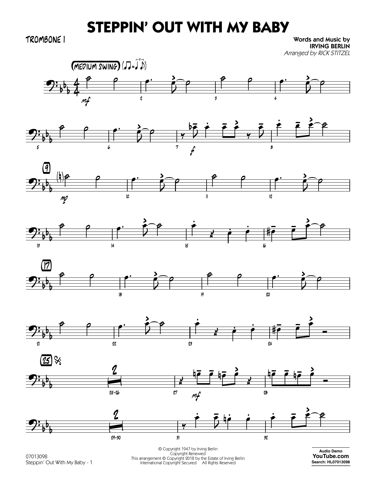 Rick Stitzel Steppin' Out with My Baby - Trombone 1 sheet music notes and chords. Download Printable PDF.