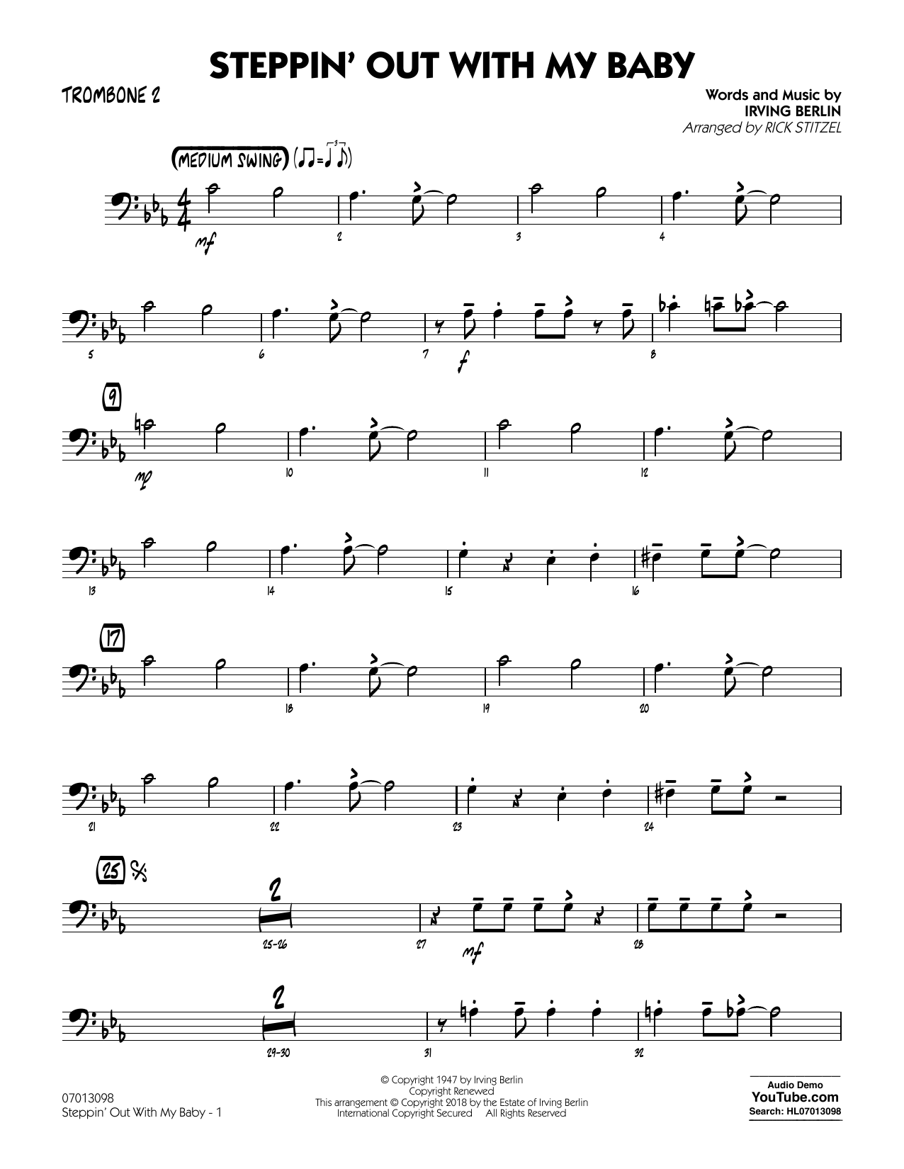 Rick Stitzel Steppin' Out with My Baby - Trombone 2 sheet music notes and chords. Download Printable PDF.
