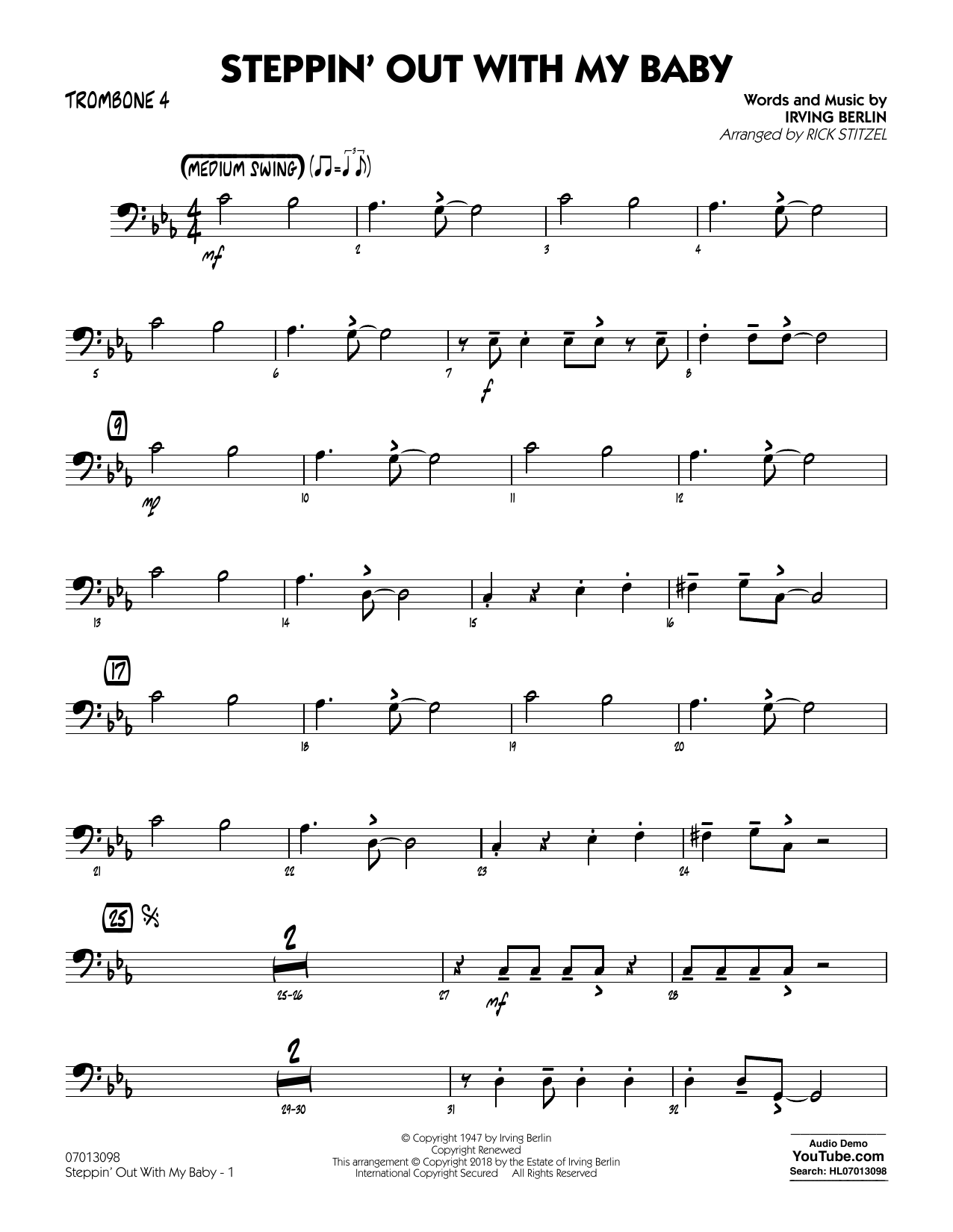 Rick Stitzel Steppin' Out with My Baby - Trombone 4 sheet music notes and chords. Download Printable PDF.