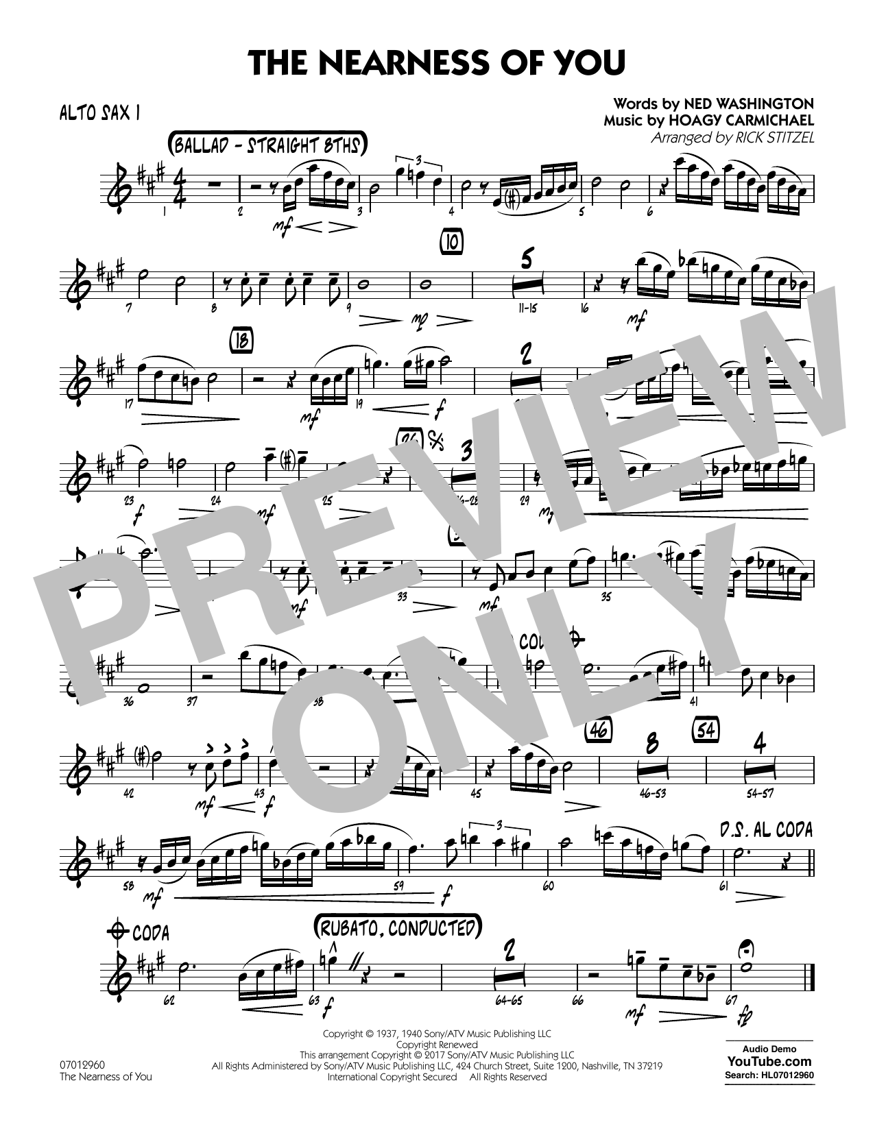 Rick Stitzel The Nearness of You (Key: C) - Alto Sax 1 sheet music notes and chords. Download Printable PDF.