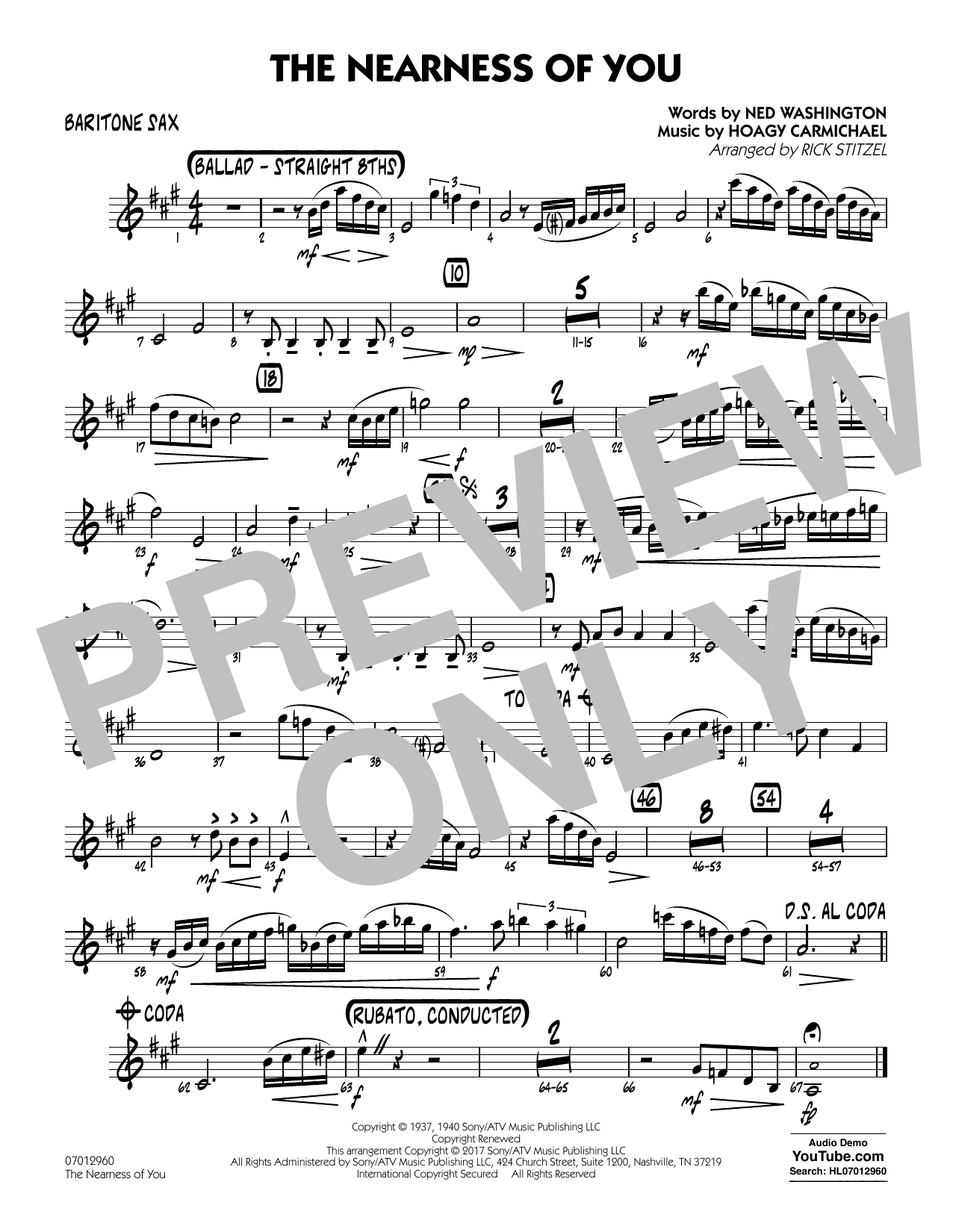 Rick Stitzel The Nearness of You (Key: C) - Baritone Sax sheet music notes and chords. Download Printable PDF.