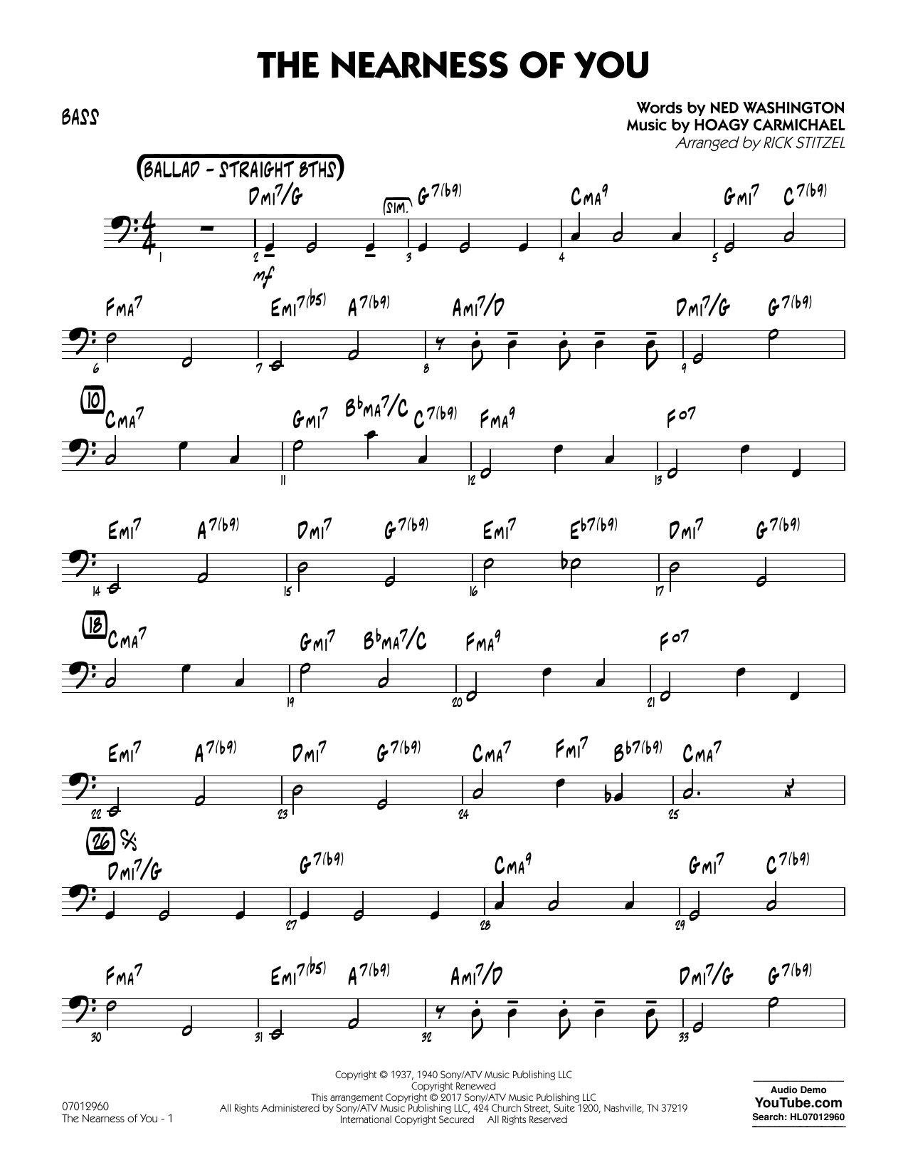 Rick Stitzel The Nearness of You (Key: C) - Bass sheet music notes and chords. Download Printable PDF.