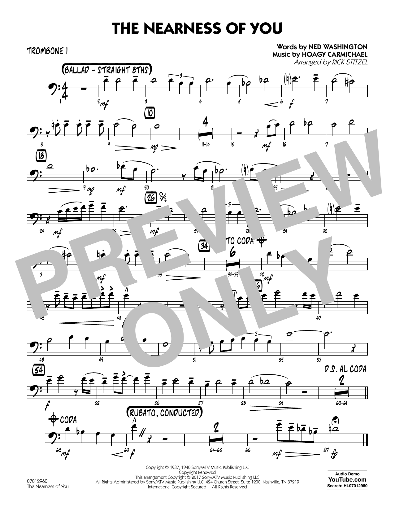 Rick Stitzel The Nearness of You (Key: C) - Trombone 1 sheet music notes and chords. Download Printable PDF.