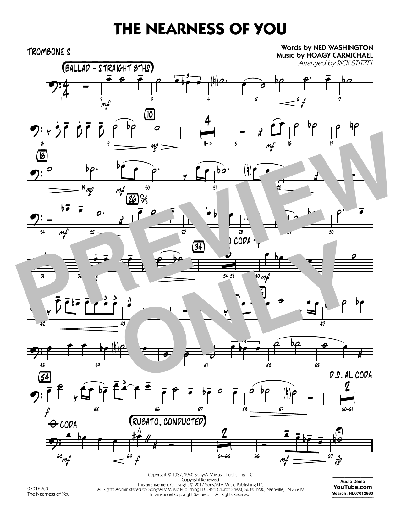 Rick Stitzel The Nearness of You (Key: C) - Trombone 2 sheet music notes and chords. Download Printable PDF.