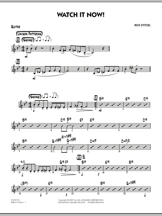 Rick Stitzel Watch It Now! - Guitar sheet music notes and chords