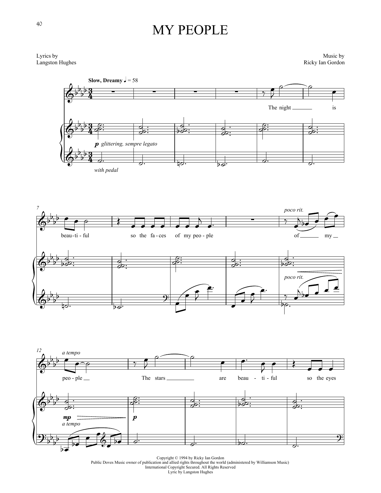 Ricky Ian Gordon My People sheet music notes and chords. Download Printable PDF.