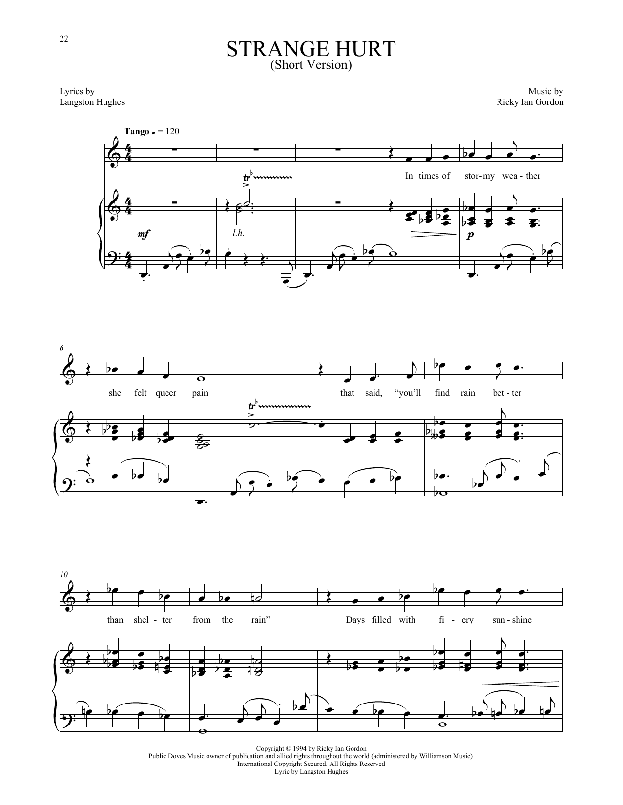 Ricky Ian Gordon Strange Hurt [Short version] sheet music notes and chords