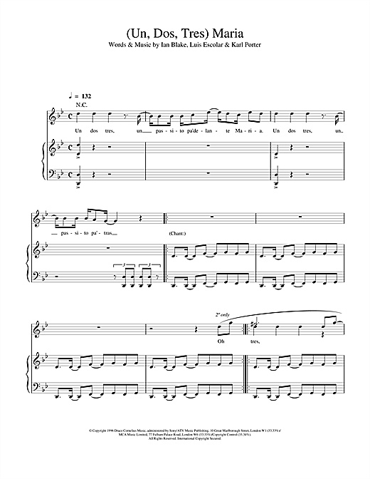 Ricky Martin (Un, Dos, Tres) Maria sheet music notes and chords. Download Printable PDF.