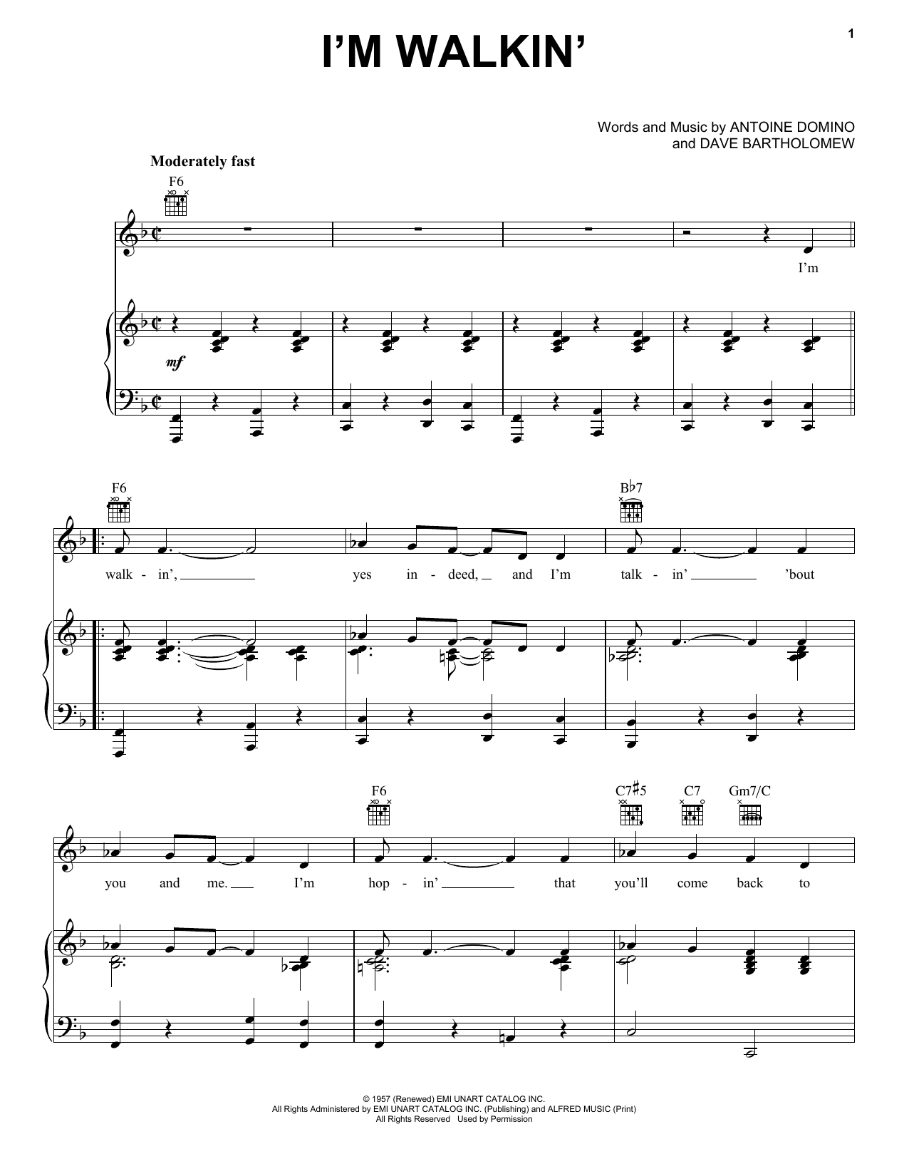 Ricky Nelson I'm Walkin' sheet music notes and chords. Download Printable PDF.