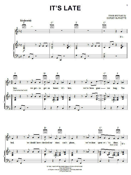 Ricky Nelson It's Late sheet music notes and chords. Download Printable PDF.