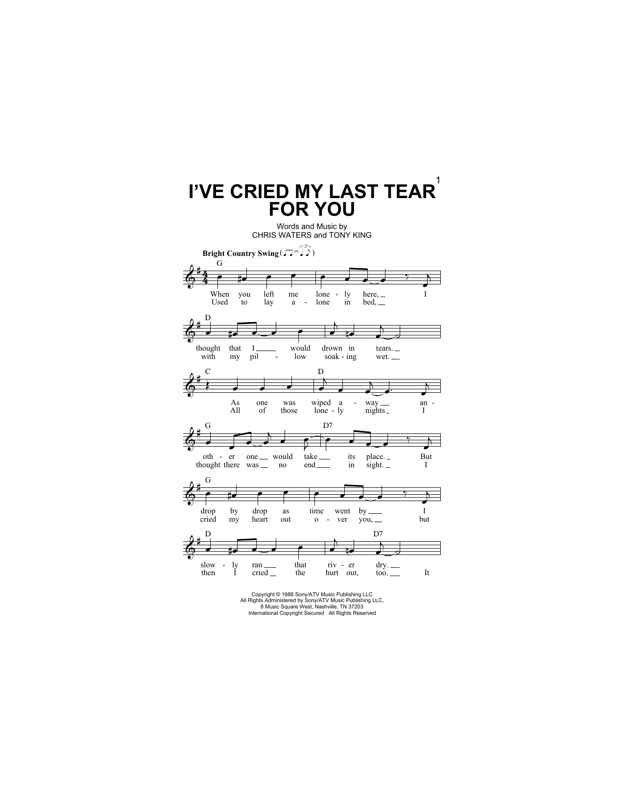 Ricky Van Shelton I've Cried My Last Tear For You sheet music notes and chords. Download Printable PDF.