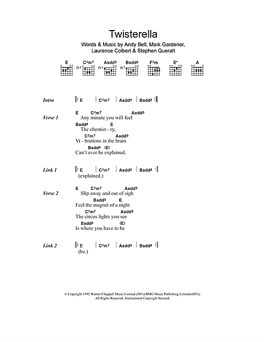Ride Twisterella sheet music notes and chords. Download Printable PDF.