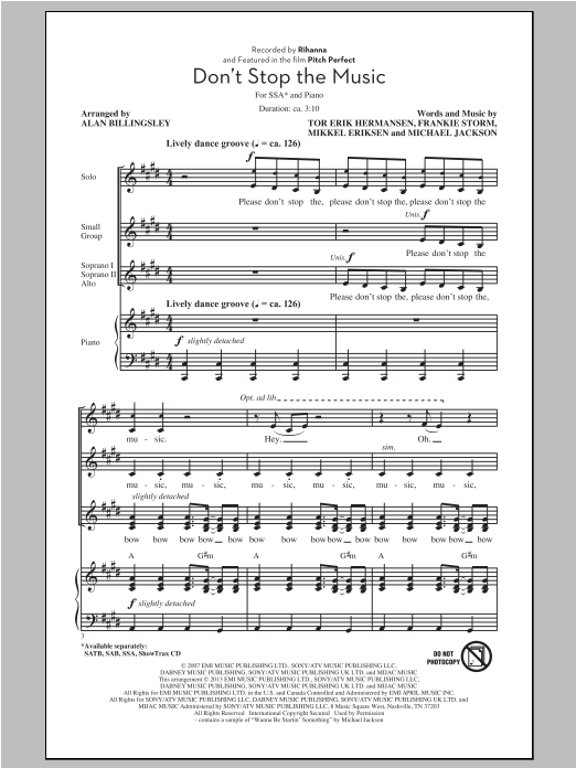 Rihanna Don't Stop The Music (arr. Alan Billingsley) sheet music notes and chords. Download Printable PDF.