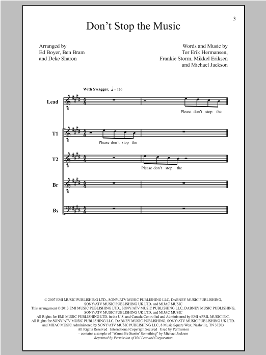 Rihanna Don't Stop The Music (arr. Deke Sharon) sheet music notes and chords. Download Printable PDF.
