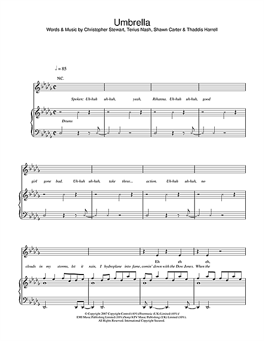 Rihanna Featuring Jay Z Umbrella Sheet Music Pdf Notes Chords Hip Hop Score Easy Piano Download Printable Sku 59665