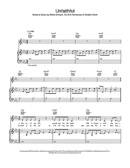 Rihanna Unfaithful sheet music notes and chords. Download Printable PDF.