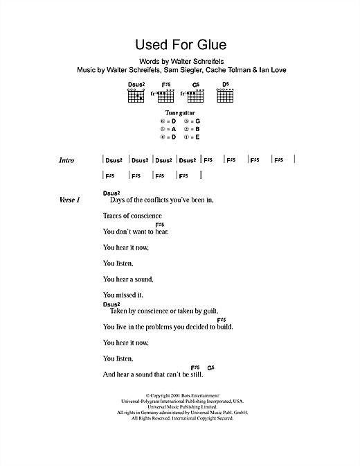 Rival Schools Used For Glue sheet music notes and chords. Download Printable PDF.