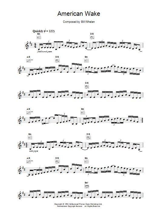 Bill Whelan American Wake (from Riverdance) sheet music notes and chords. Download Printable PDF.