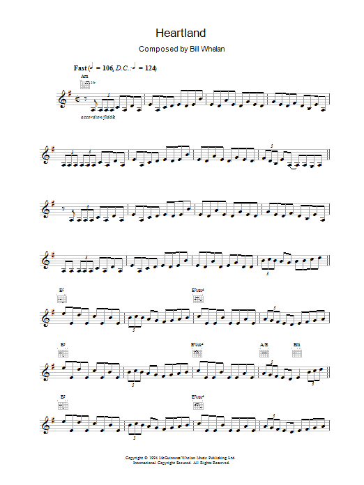 Bill Whelan Heartland (from Riverdance) sheet music notes and chords. Download Printable PDF.