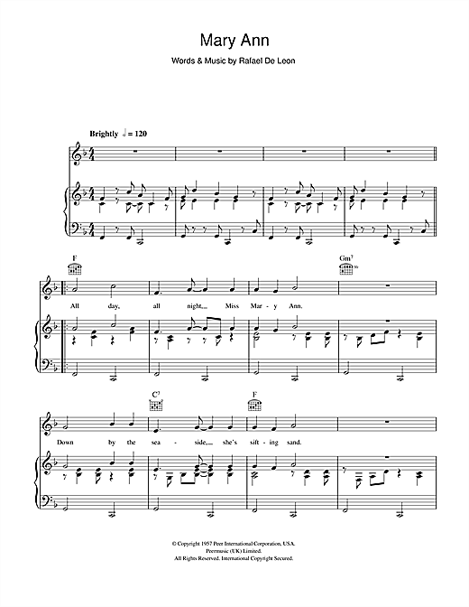 Roaring Lion Mary Ann sheet music notes and chords. Download Printable PDF.