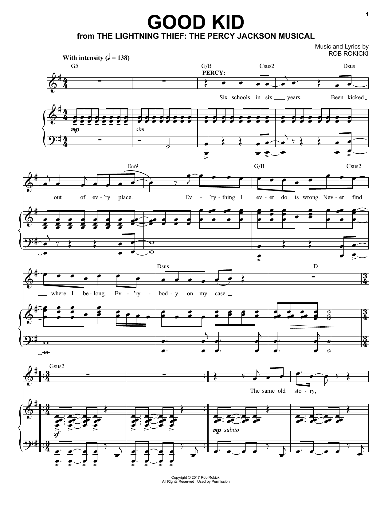 Rob Rokicki Good Kid (from The Lightning Thief: The Percy Jackson Musical) sheet music notes and chords. Download Printable PDF.