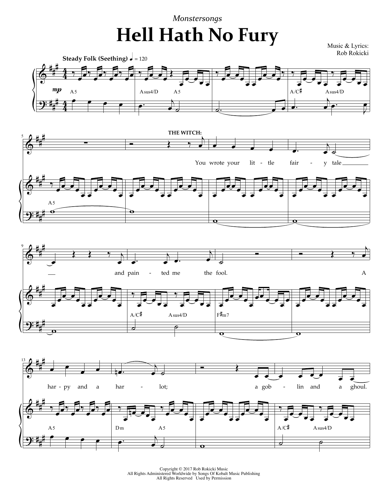 Rob Rokicki Hell Hath No Fury (from Monstersongs) sheet music notes and chords. Download Printable PDF.