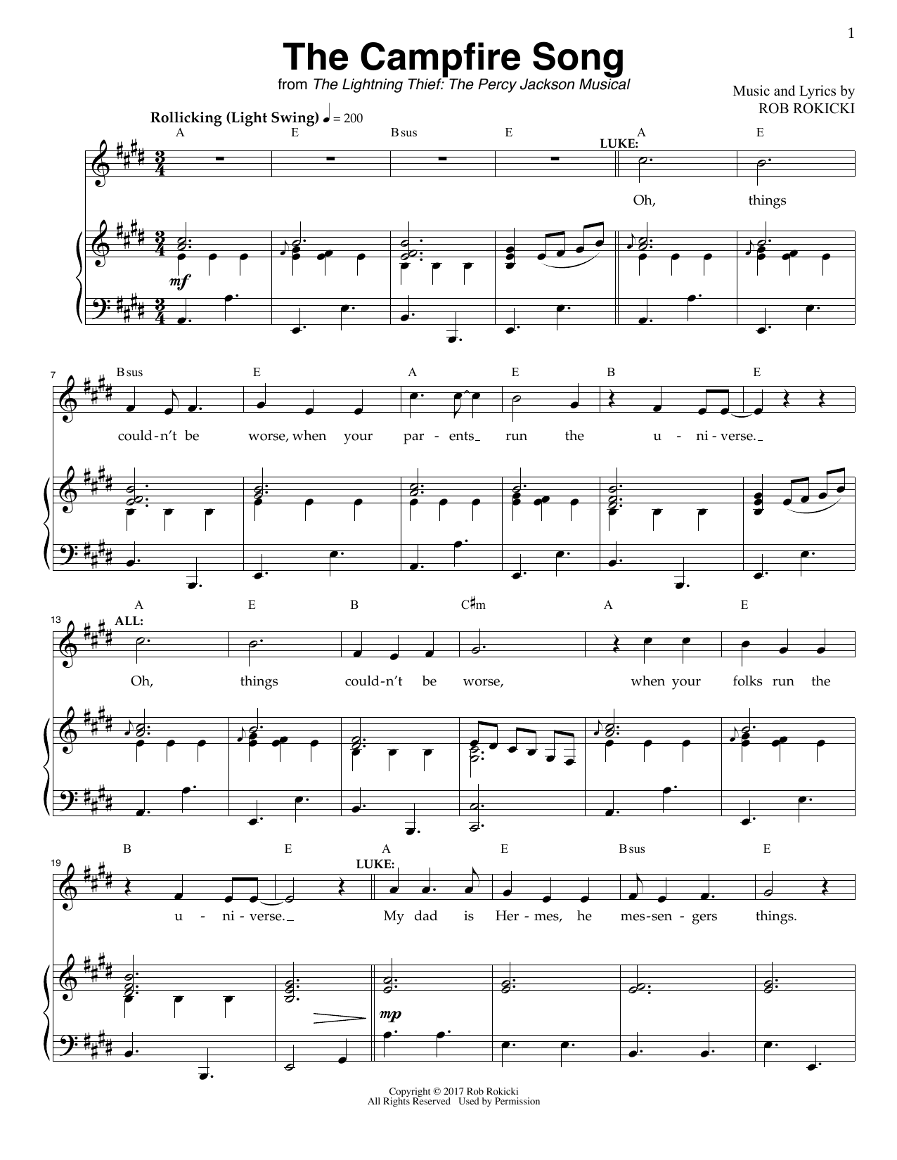 Rob Rokicki The Campfire Song (from The Lightning Thief: The Percy Jackson Musical) sheet music notes and chords