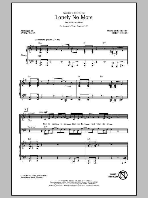 Rob Thomas Lonely No More (arr. Ryan James) sheet music notes and chords. Download Printable PDF.